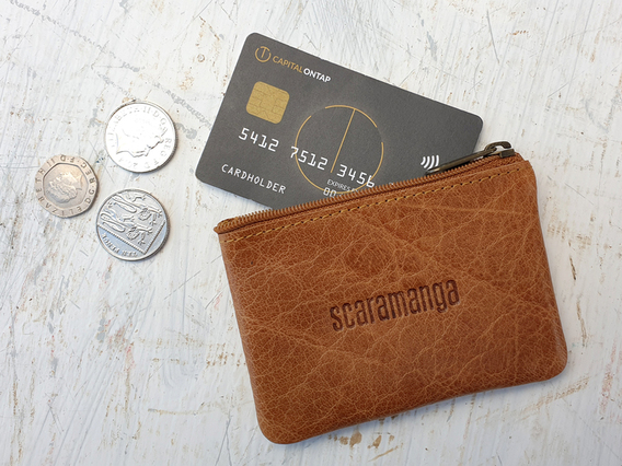 Tan Leather Coin Purse Brown