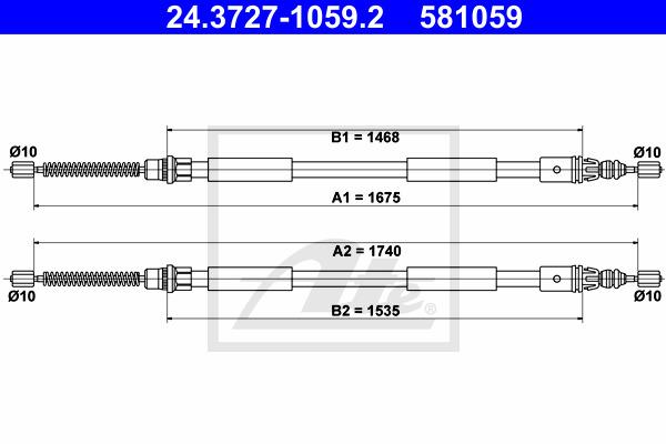 Käsijarruvaijeri ATE 24.3727-1059.2
