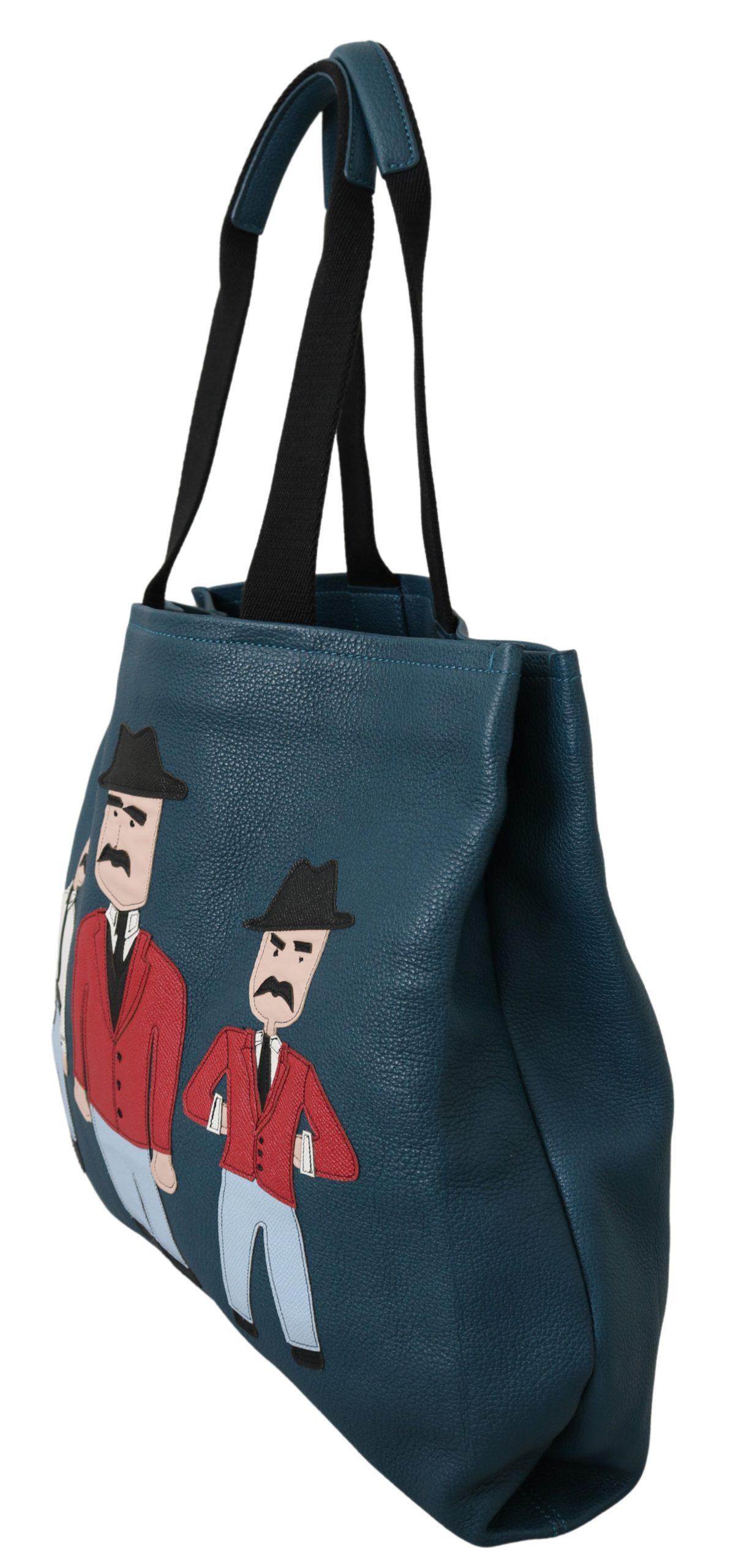 Dolce & Gabbana Men's Patched Leather Tote Bag Blue VAS9606