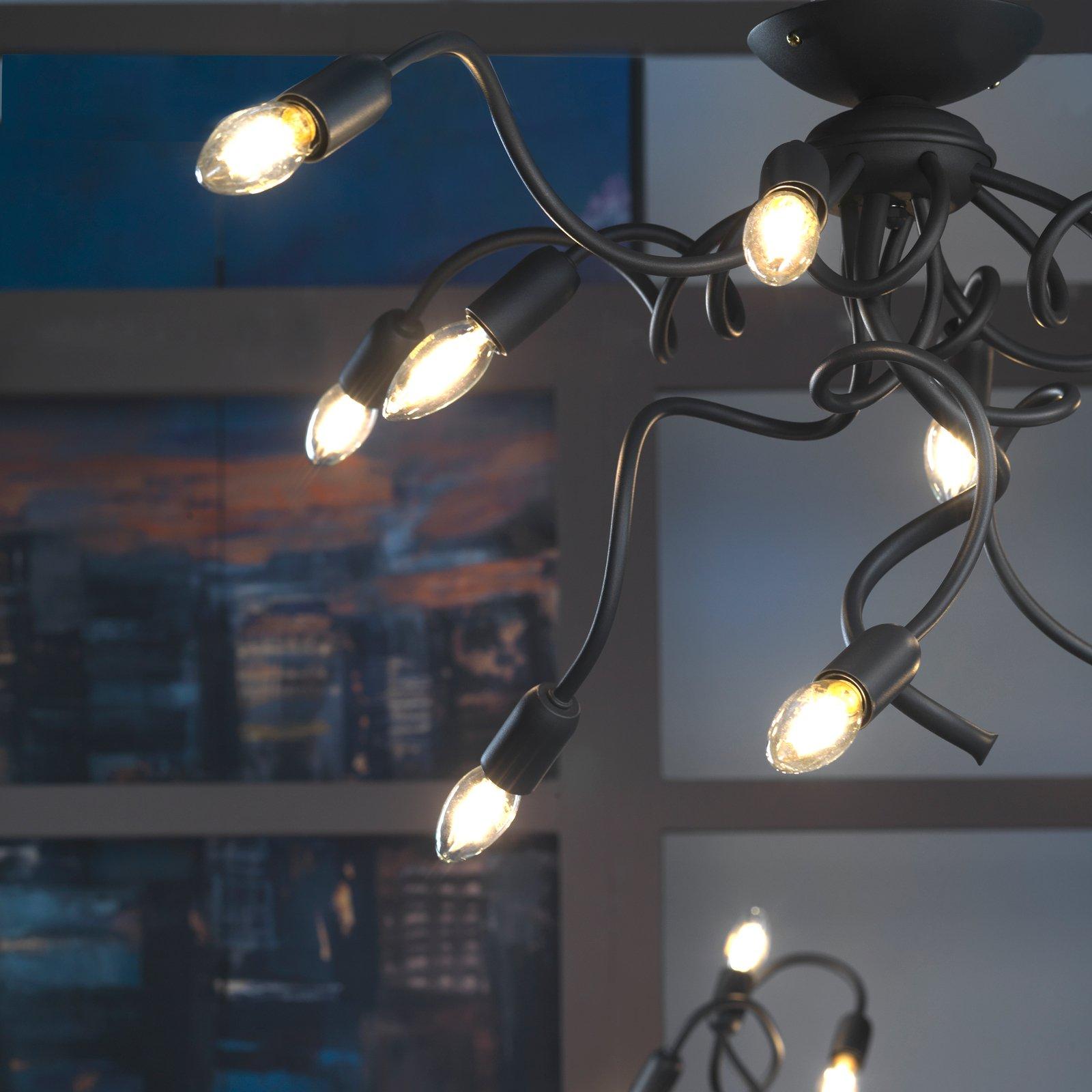 Taklampe Sebastian, 11 lyskilder, mørkegrå