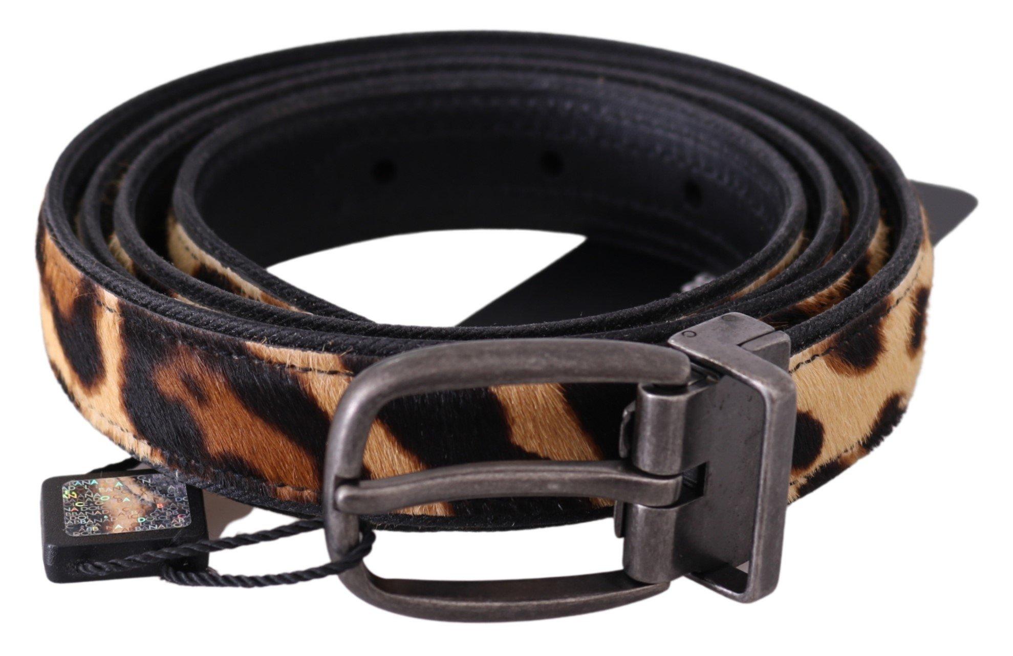 Dolce & Gabbana Women's Leopard Pattern Leather Belt Brown BEL60677 - 105 cm / 42 Inches