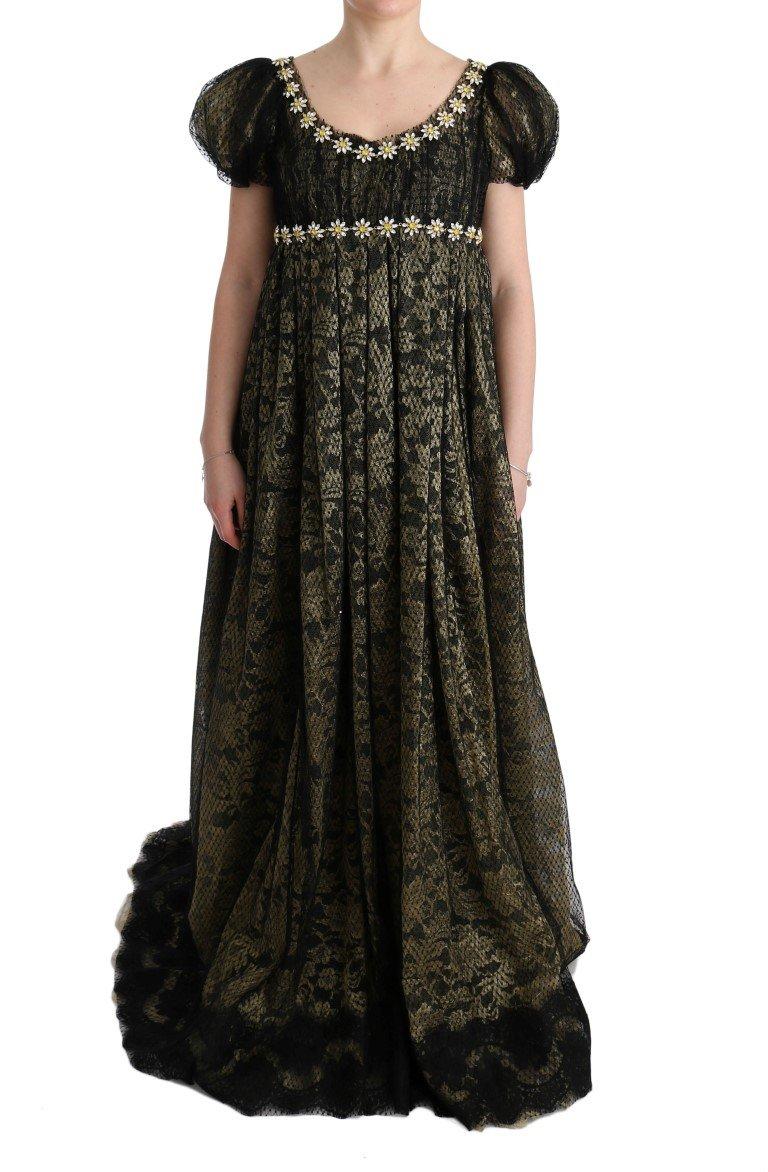 Dolce & Gabbana Women's Crystal Lace Shift Dress Black SIG60663 - IT40|S
