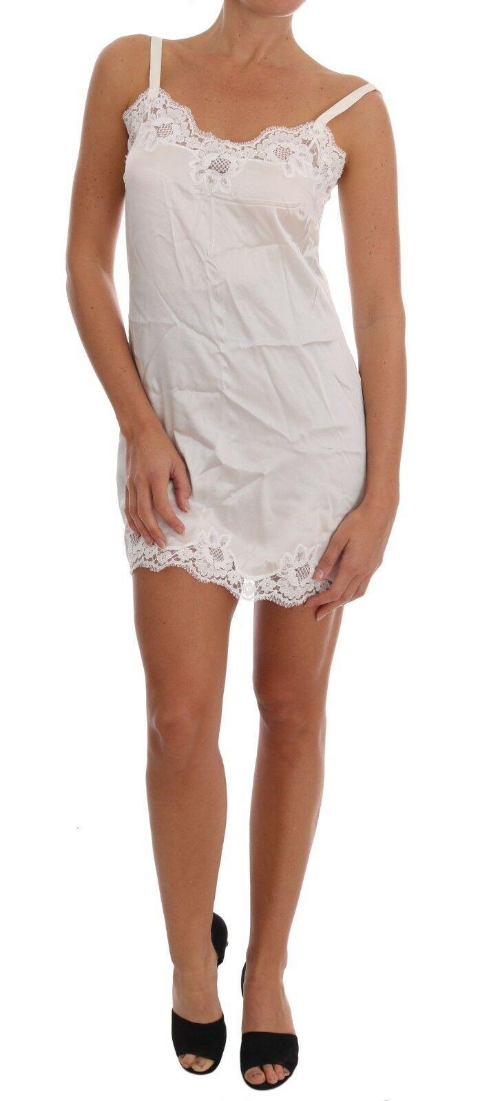 Dolce & Gabbana Women's Silk Lace Lingerie Chemise Dress White BIK092 - IT1   XS