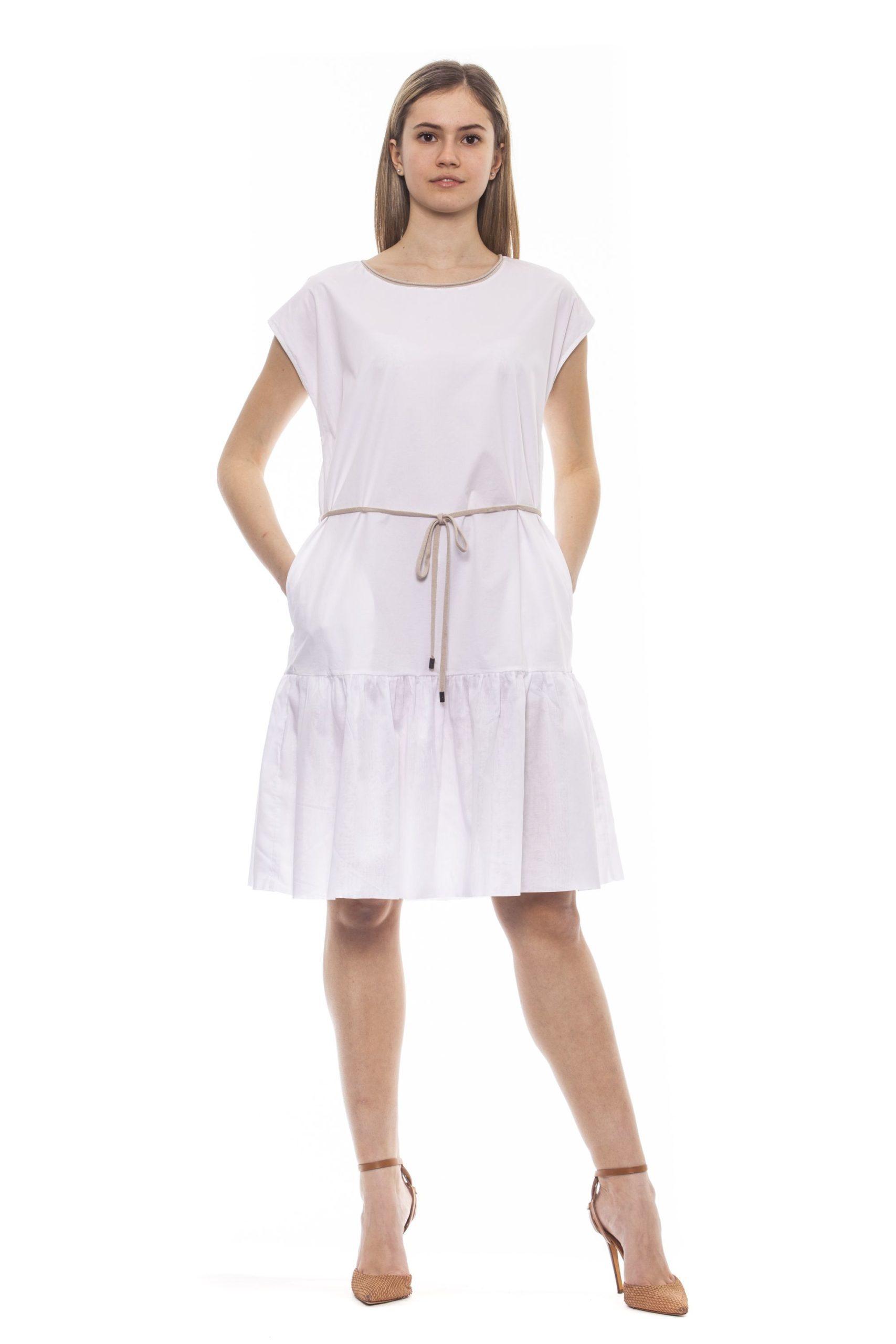 Peserico Women's Bianco Dress White PE1381692 - IT42 | S