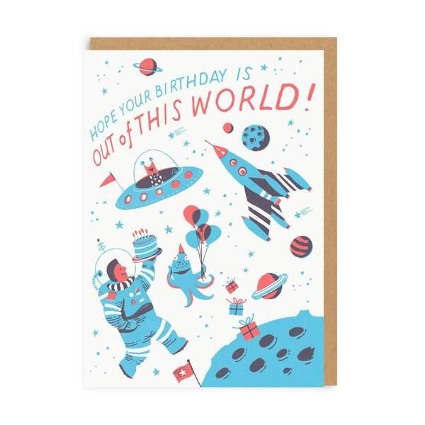 Space Birthday Greeting Card