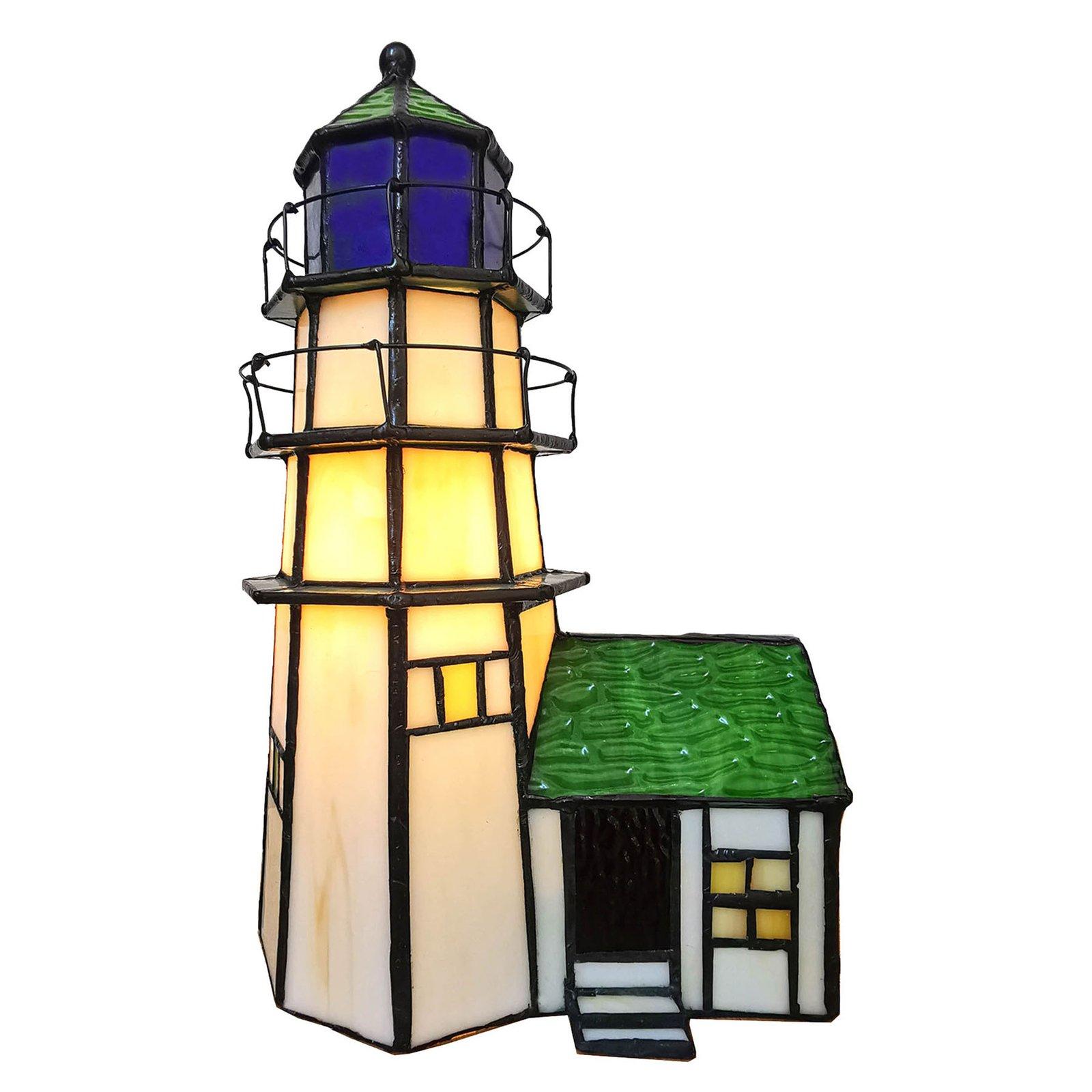 6007 bordlampe, fyrtårn med tilbygg, Tiffany-stil