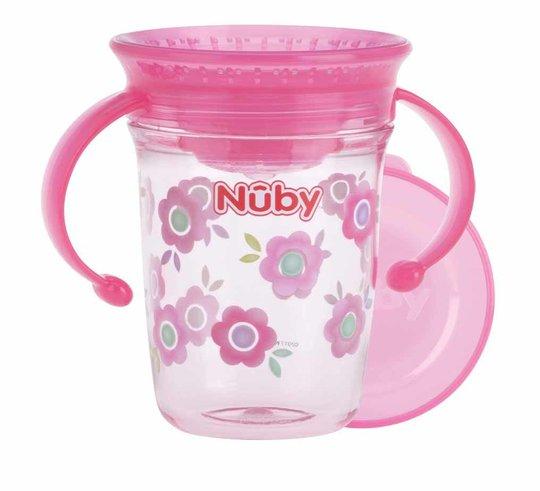 Nûby Drikkeglass med Håndtak, Rosa