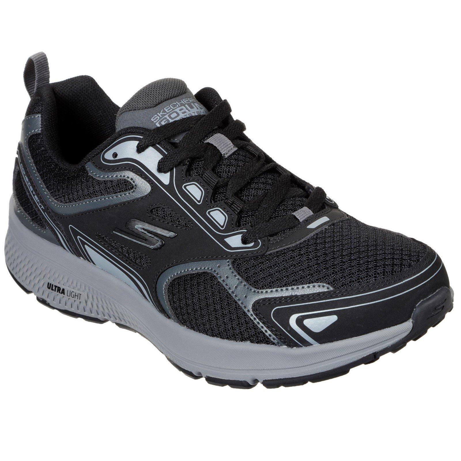 Skechers Men's Go Run Consistent Wide Trainer Multicolor 33072 - Black/Grey 10