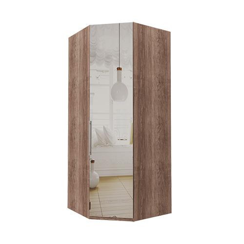 Hjørne Atlanta garderobe 236 cm, Speil, Mørk rustikk eik