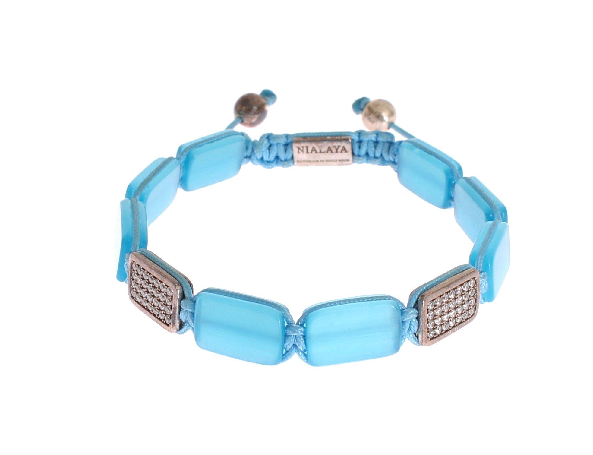 Nialaya Women's CZ Opal 925 Silver Bracelet Blue NIA20239 - L
