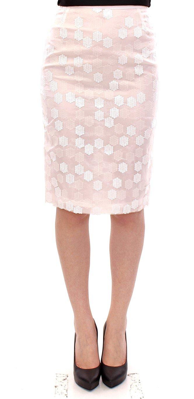 Koonhor Women's Sequined Straight Pencil Skirt White GSS10751 - IT42 M