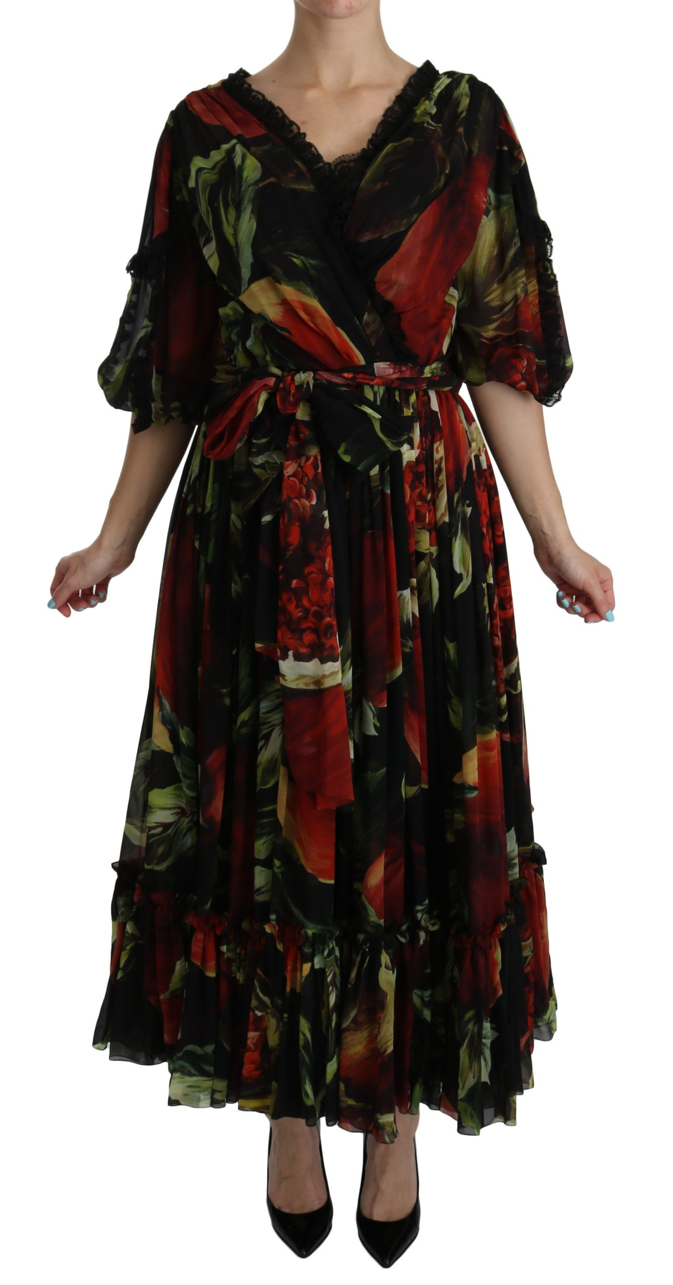 Dolce & Gabbana Women's Floral Roses Pleated Maxi Silk Black DR2106 - IT40 S