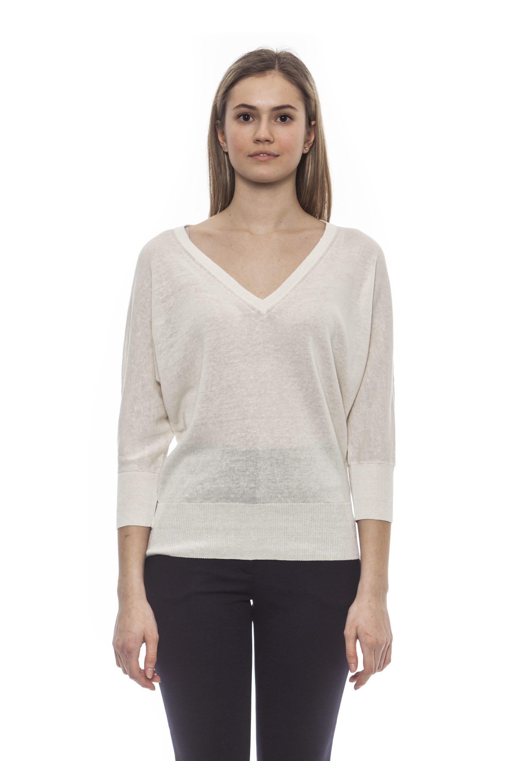 Peserico Women's Bianco Sweater White PE1383112 - IT42 | S