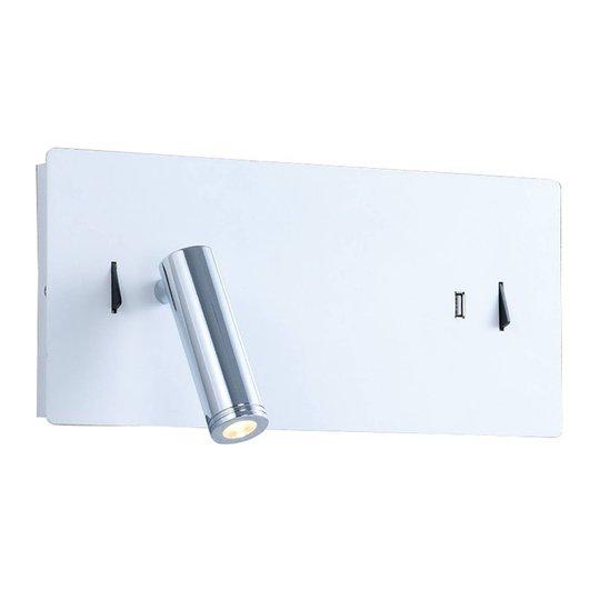 Lucande Kimo LED-vegglampe kantet, hvit, USB-spor
