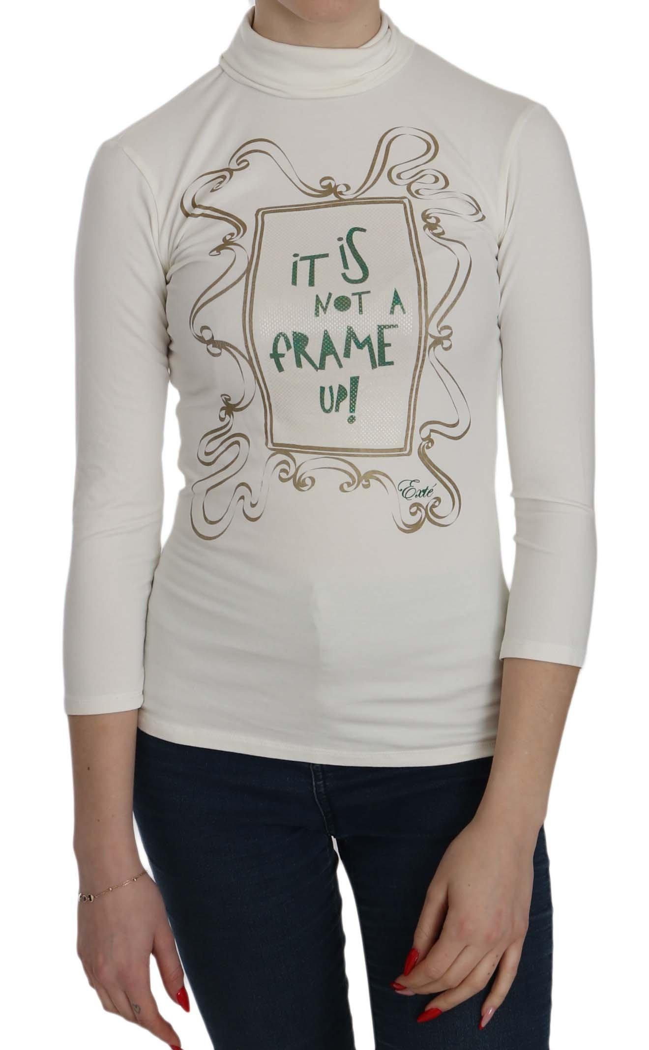 Exte Women's Printed Turtle Neck Sleeve Top White TSH3837 - IT38|XS