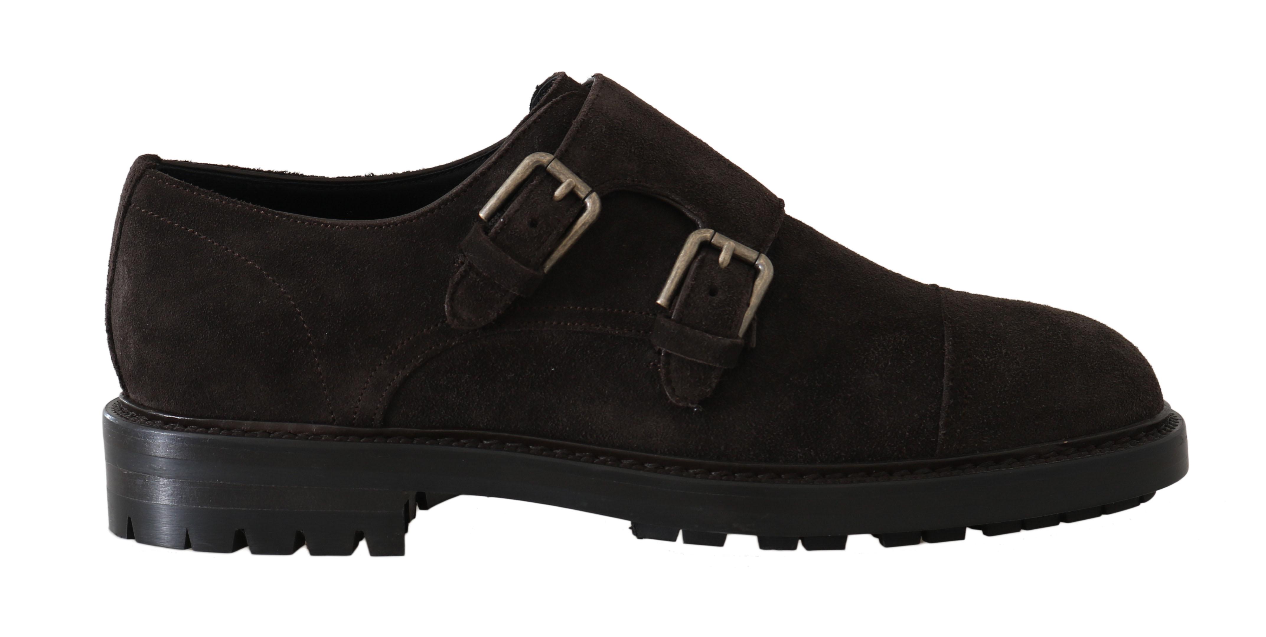 Dolce & Gabbana Men's Leather Monkstrap Derby Shoes Brown MV2052 - EU40/US7