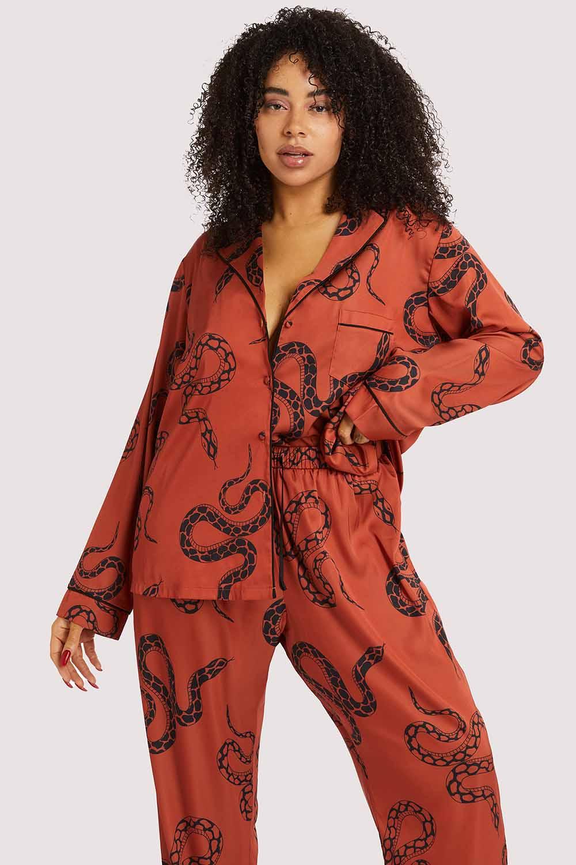 Wolf & Whistle Rust Snake Print Satin Pyjama Set UK 26 / US 22