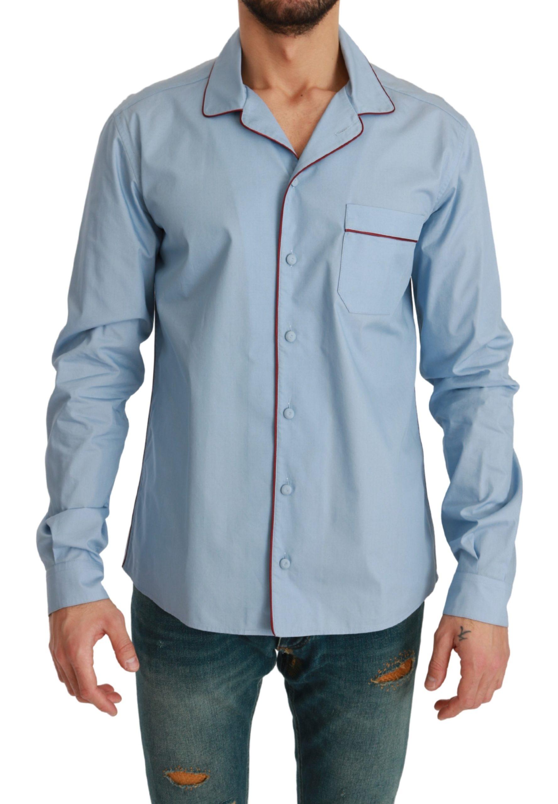 Dolce & Gabbana Men's Light Sleepwear Cotton Shirt Blue TSH4615 - IT40   M