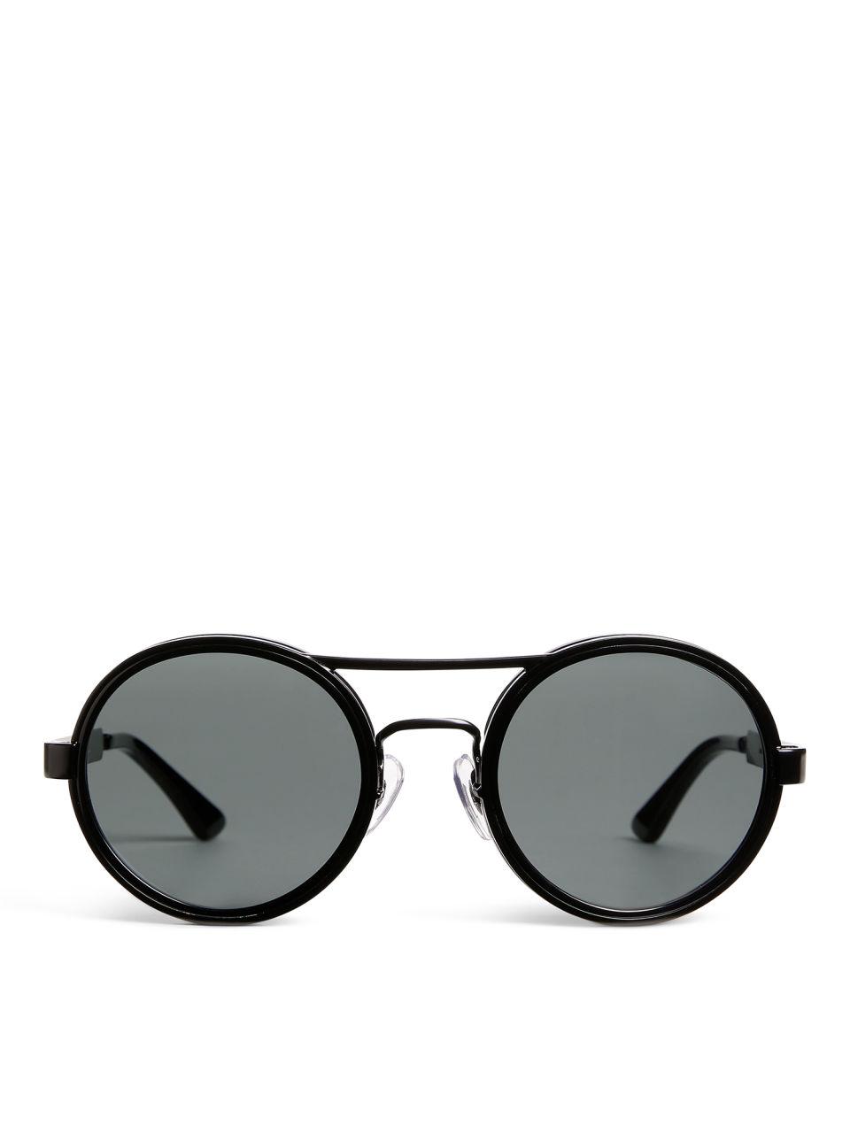 Round Aviator Sunglasses - Black