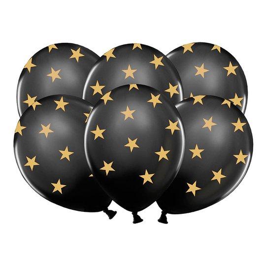 Ballonger Svarta med Stjärnor - 6-pack