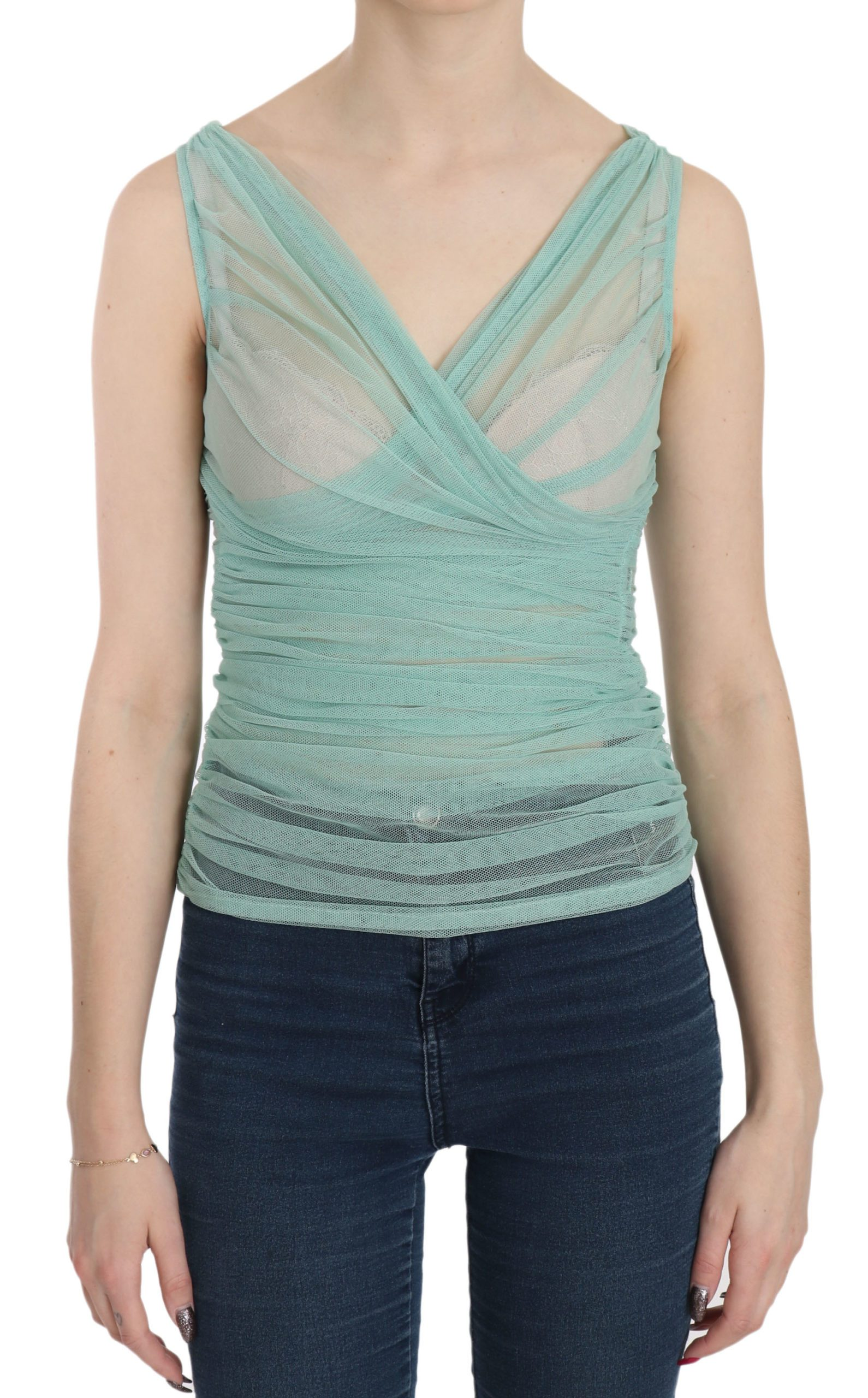 Dolce & Gabbana Women's Stretch Mesh Top Green TSH3399 - IT46 | L