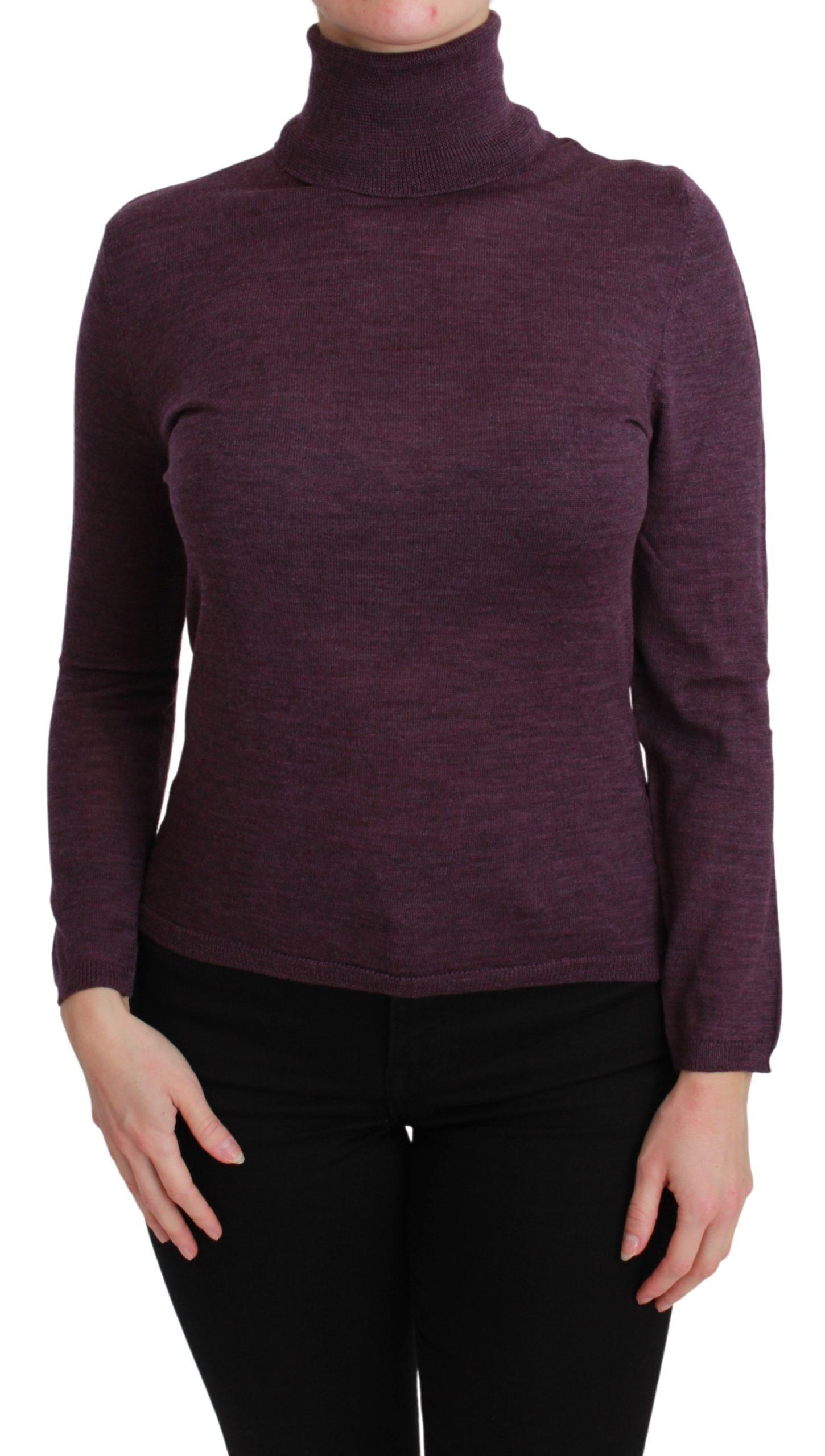 BYBLOS Women's Turtleneck LS Pullover Wool Sweater Purple TSH2690 - L