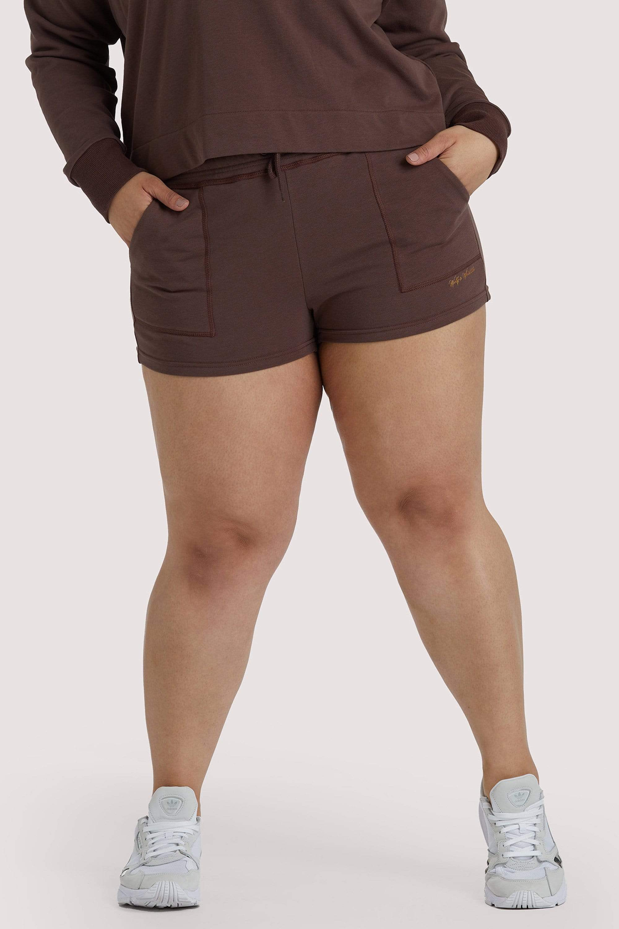 Wolf & Whistle Brown Tie Waist Curve Shorts UK18 / US14
