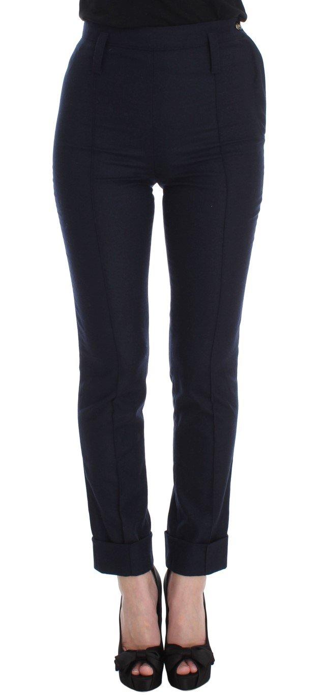 Ermanno Scervino Women's Slim Fit Trousers Blue SIG30316 - IT38 XS