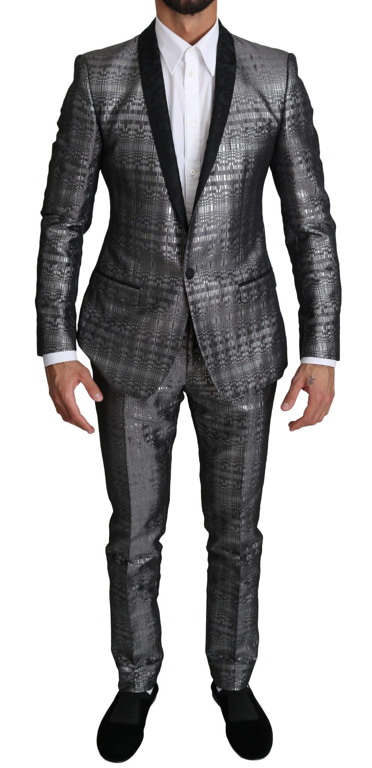 Dolce & Gabbana Men's Single Breasted 2 Piece Suit Silver KOS1547 - IT46   S