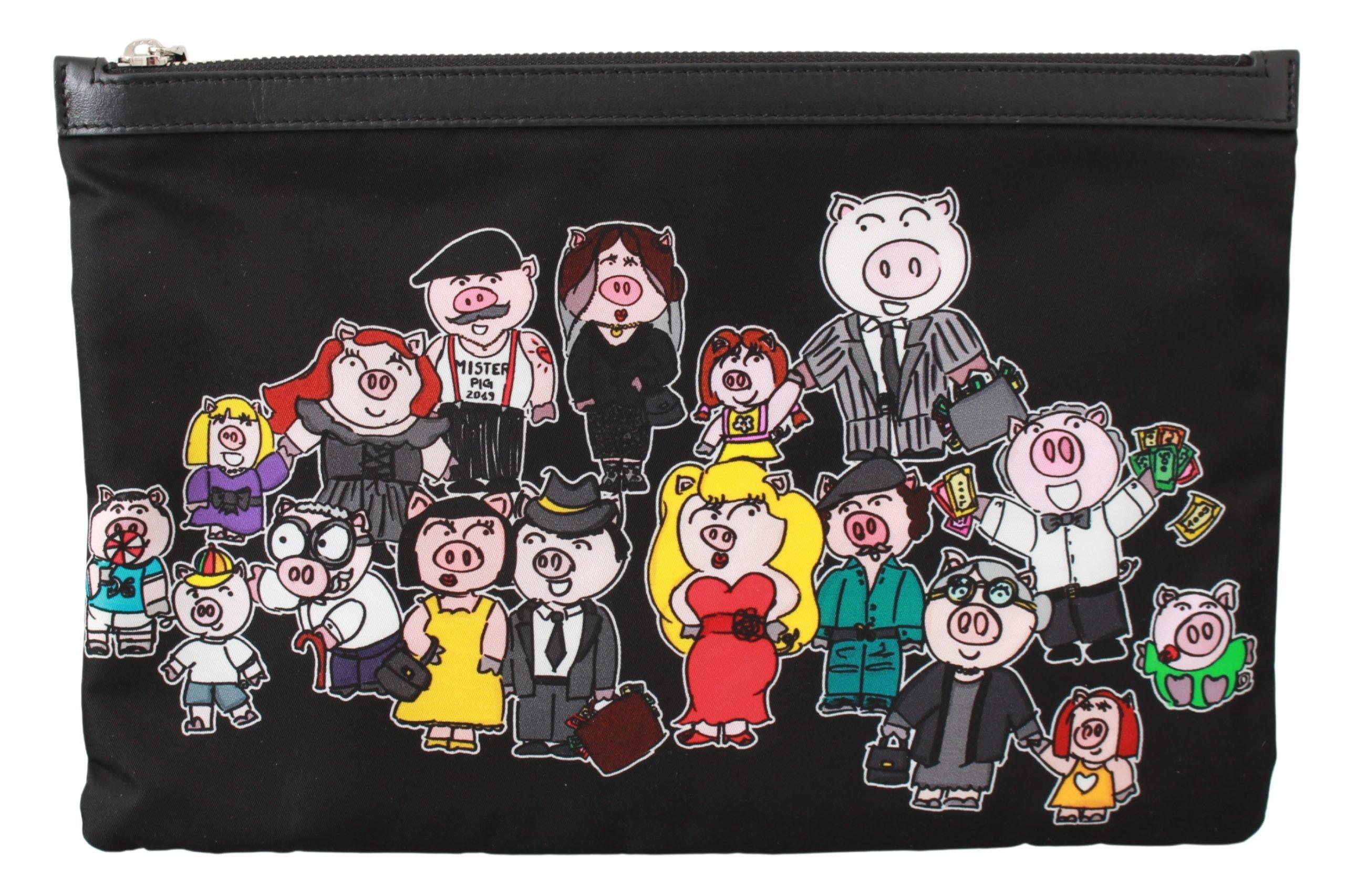 Dolce & Gabbana Men's Family Pig Hand Messenger Bag Black VAS9487