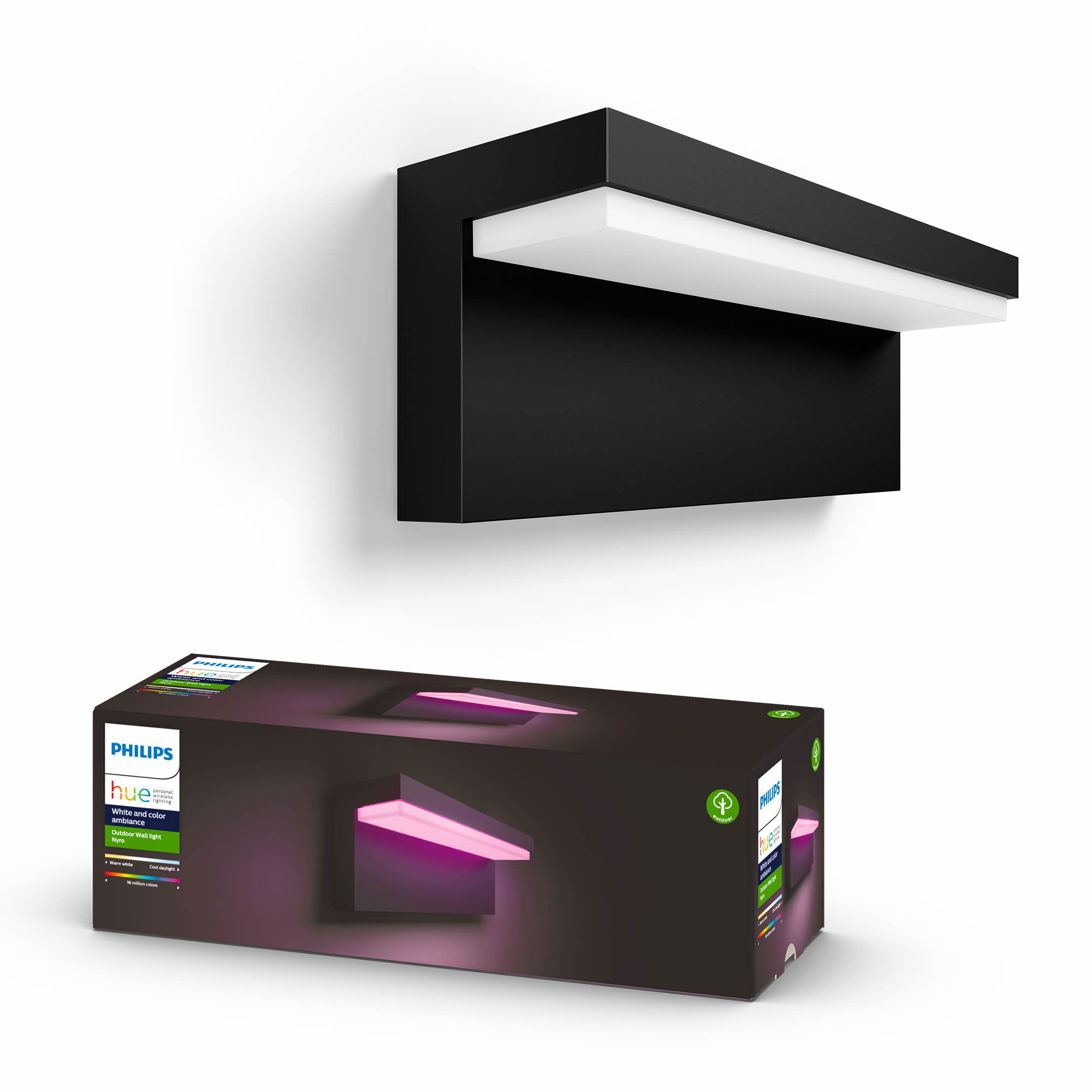 Philips Hue - Nyro Outdoor Wall Light - White & Colour Ambiance