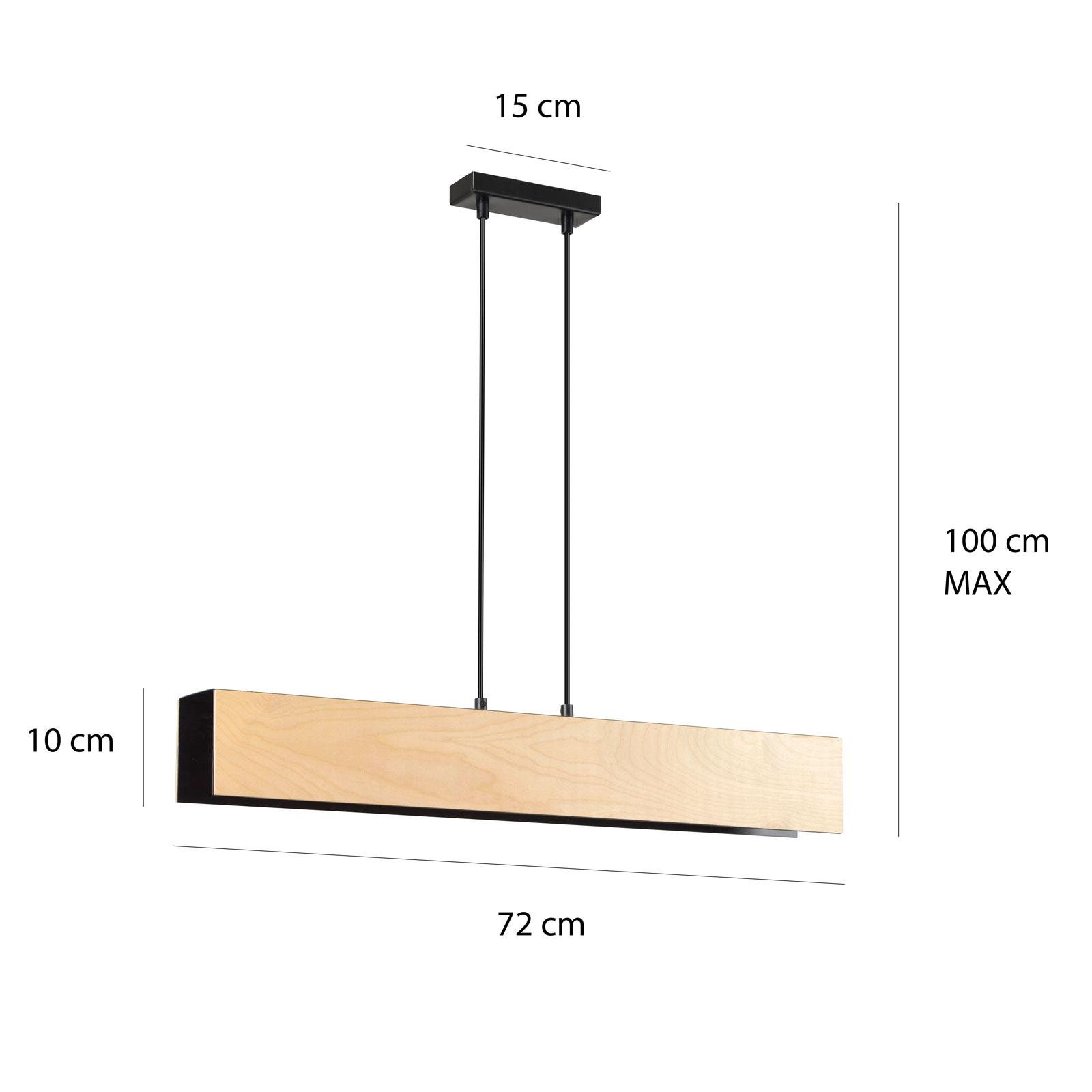 Riippuvalo Carlo 3 Black, puinen varjostin, 72 cm