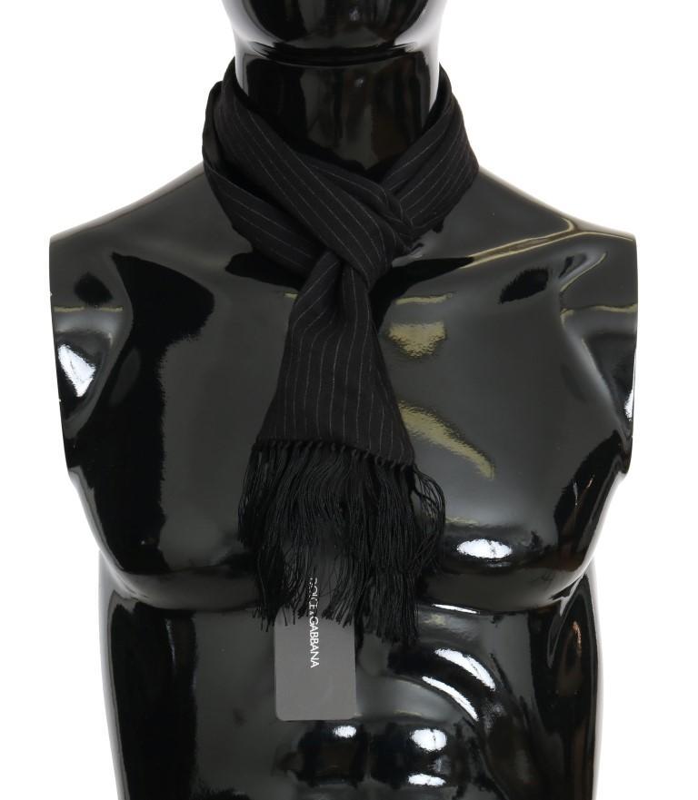 Dolce & Gabbana Men's Wool Silk Striped Pattern Scarf Black MS2018