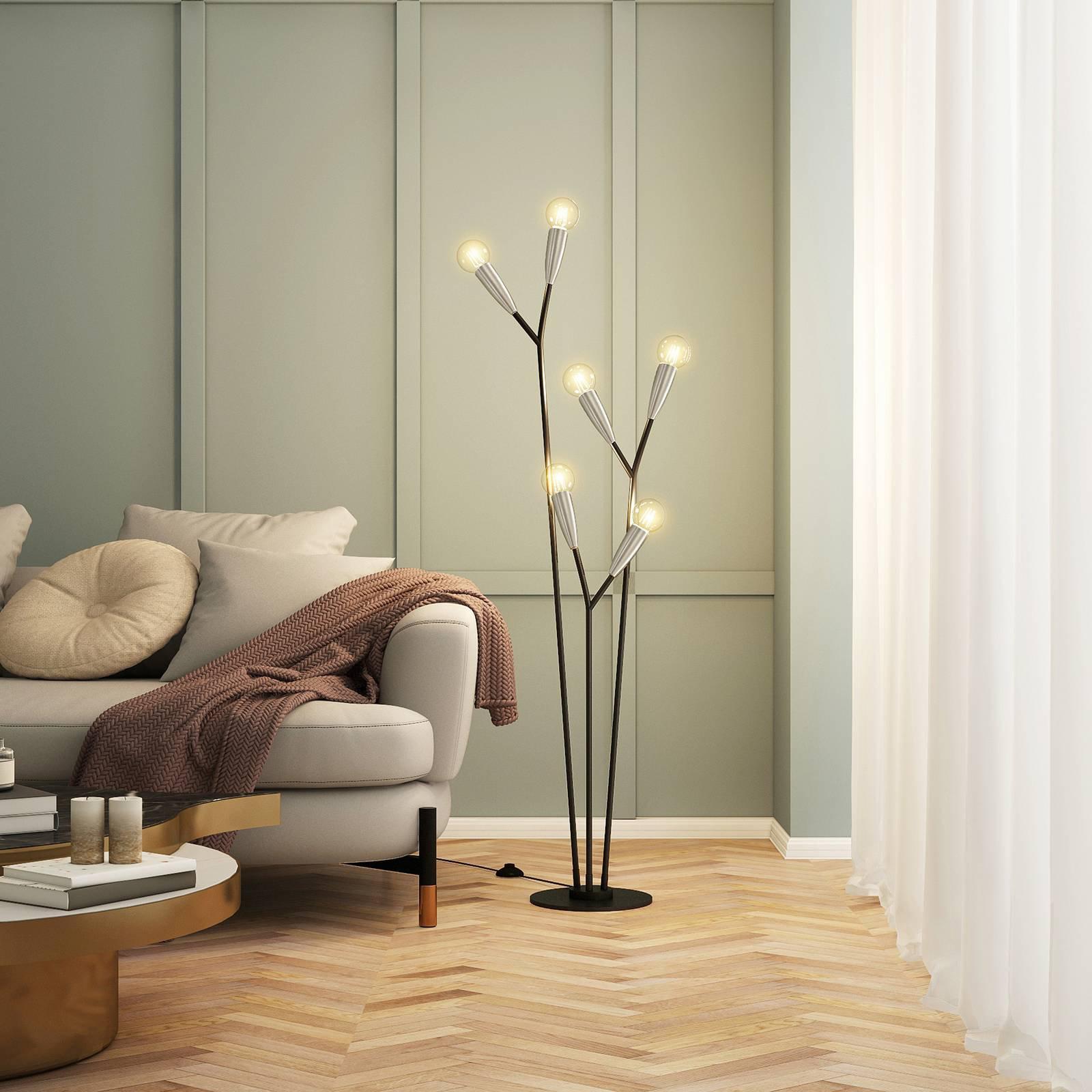 Lucande Carlea gulvlampe, 6 lyskilde, svart nikkel