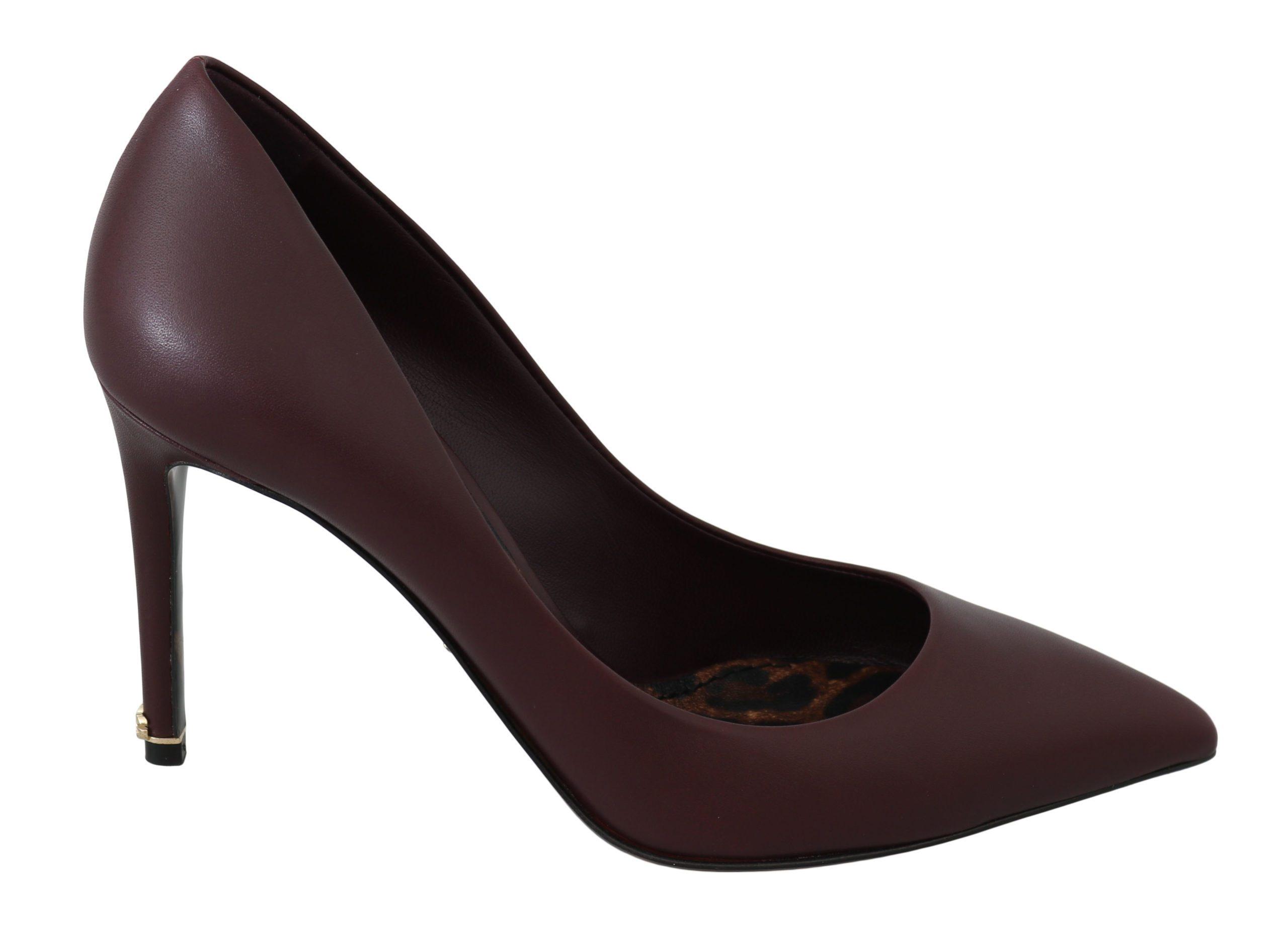 Dolce & Gabbana Women's Stilettos Bordeaux Leather Heels Bordeaux LA6297 - EU35.5/US5