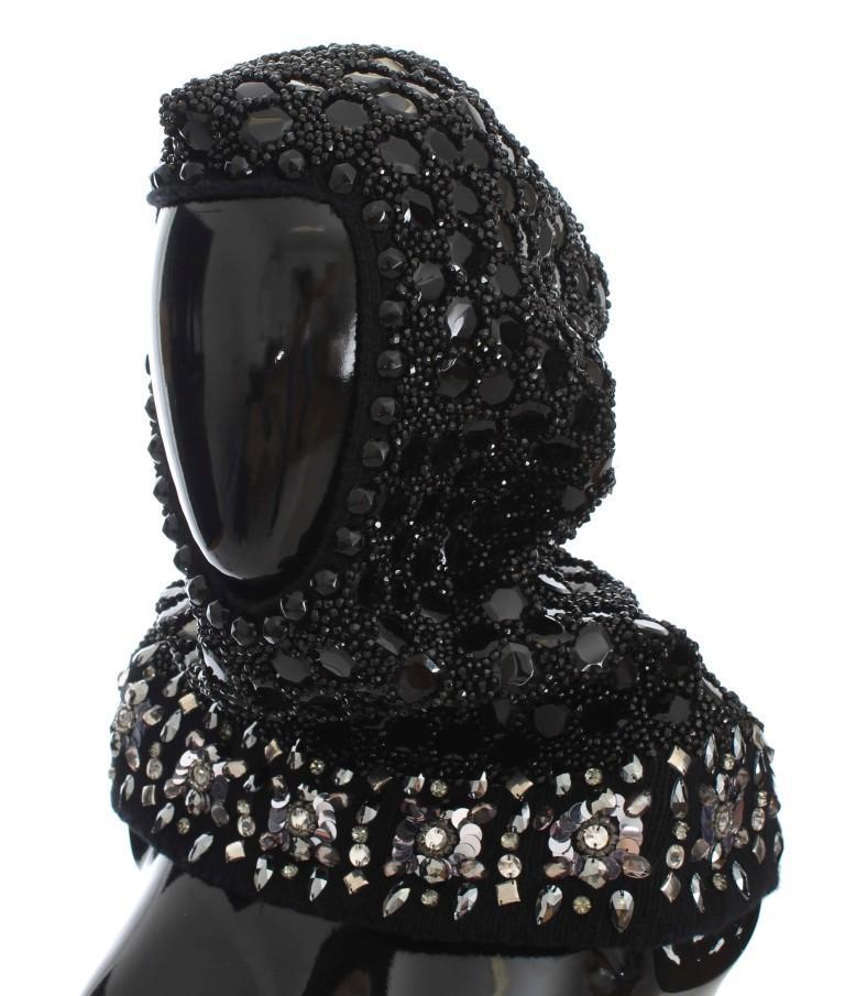 Dolce & Gabbana Women's Crystal Sequin Hood Scarf Hat Black MS906