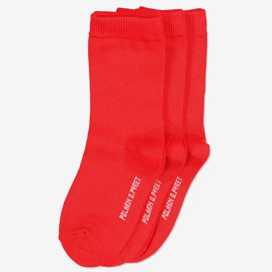 3-pakning ensfargede sokker barn rød