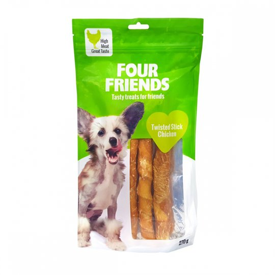 FourFriends Dog Twisted Stick Chicken 25 cm (4 pack)