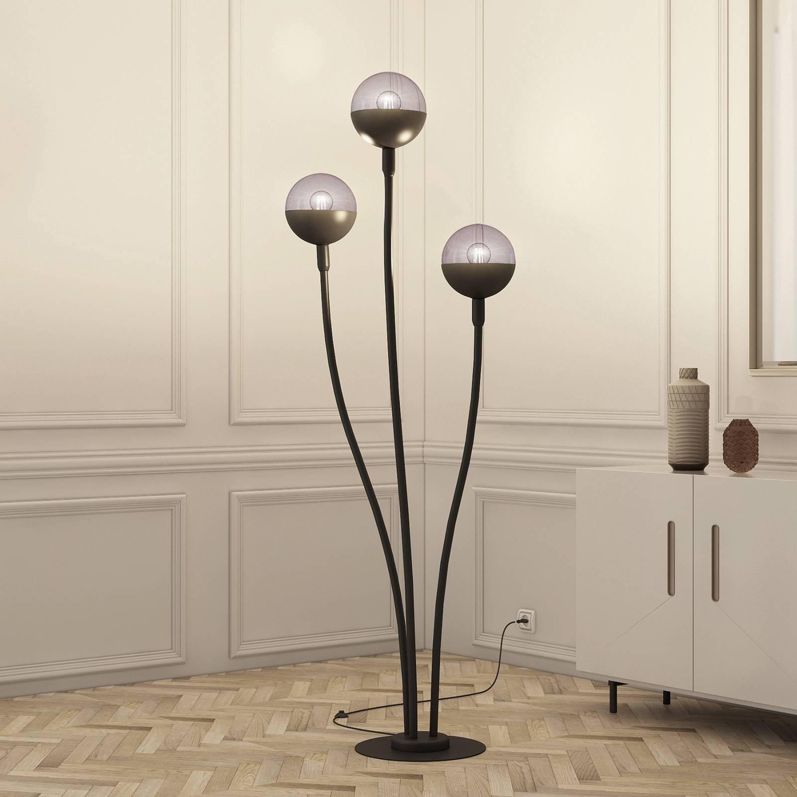 Lucande Dustian -lattiavalaisin, 3-lamppuinen