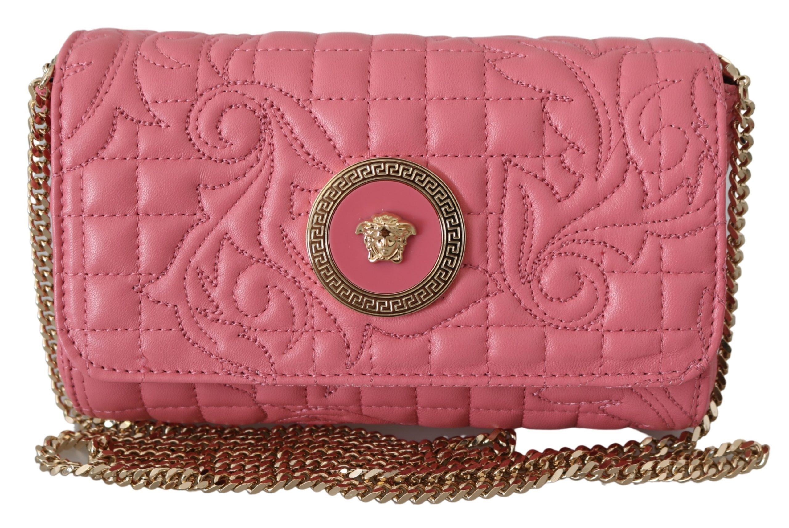 Versace Women's Mini Quilted Nappa Leather Shoulder Bag Pink 8053850414031