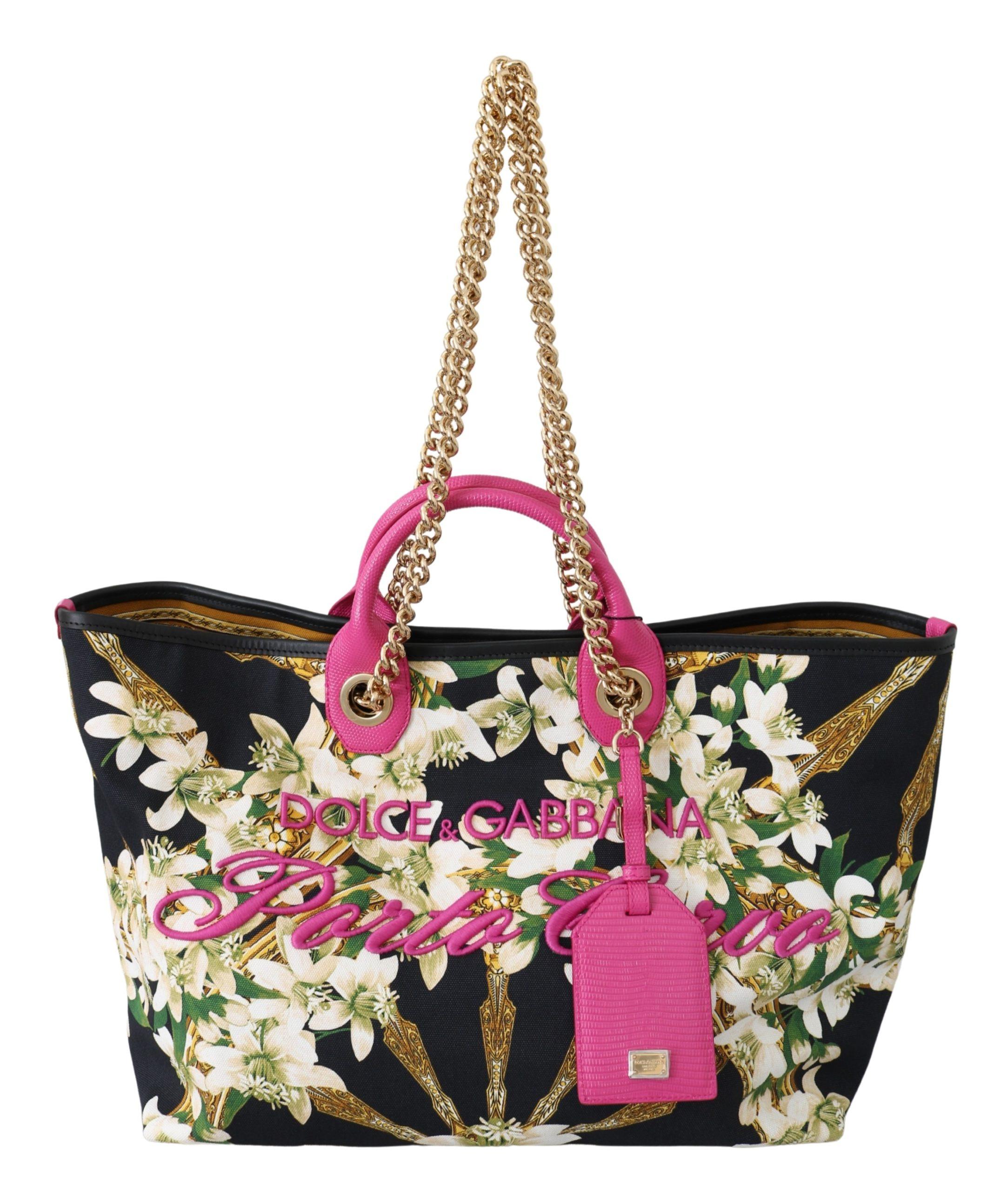 Dolce & Gabbana Women's Floral Porto Cervo Tote Bag Black VAS9792
