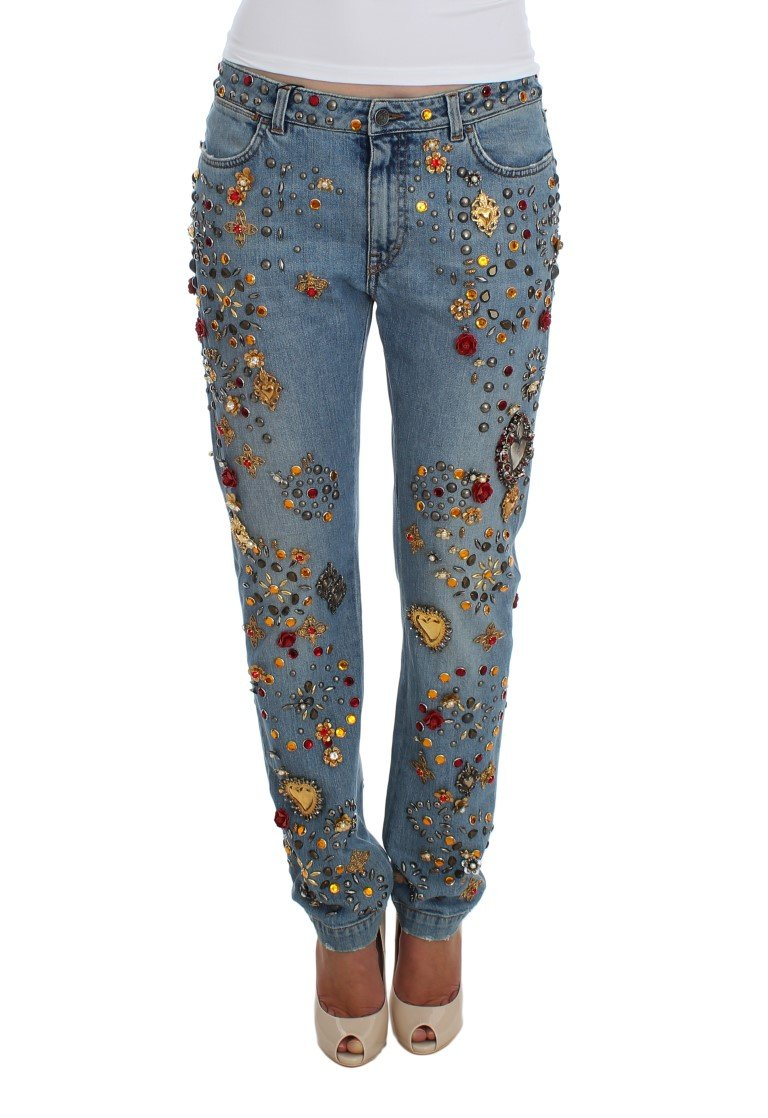 Dolce & Gabbana Women's Roses Heart Embellished Jeans Blue SIG19327 - IT42|M
