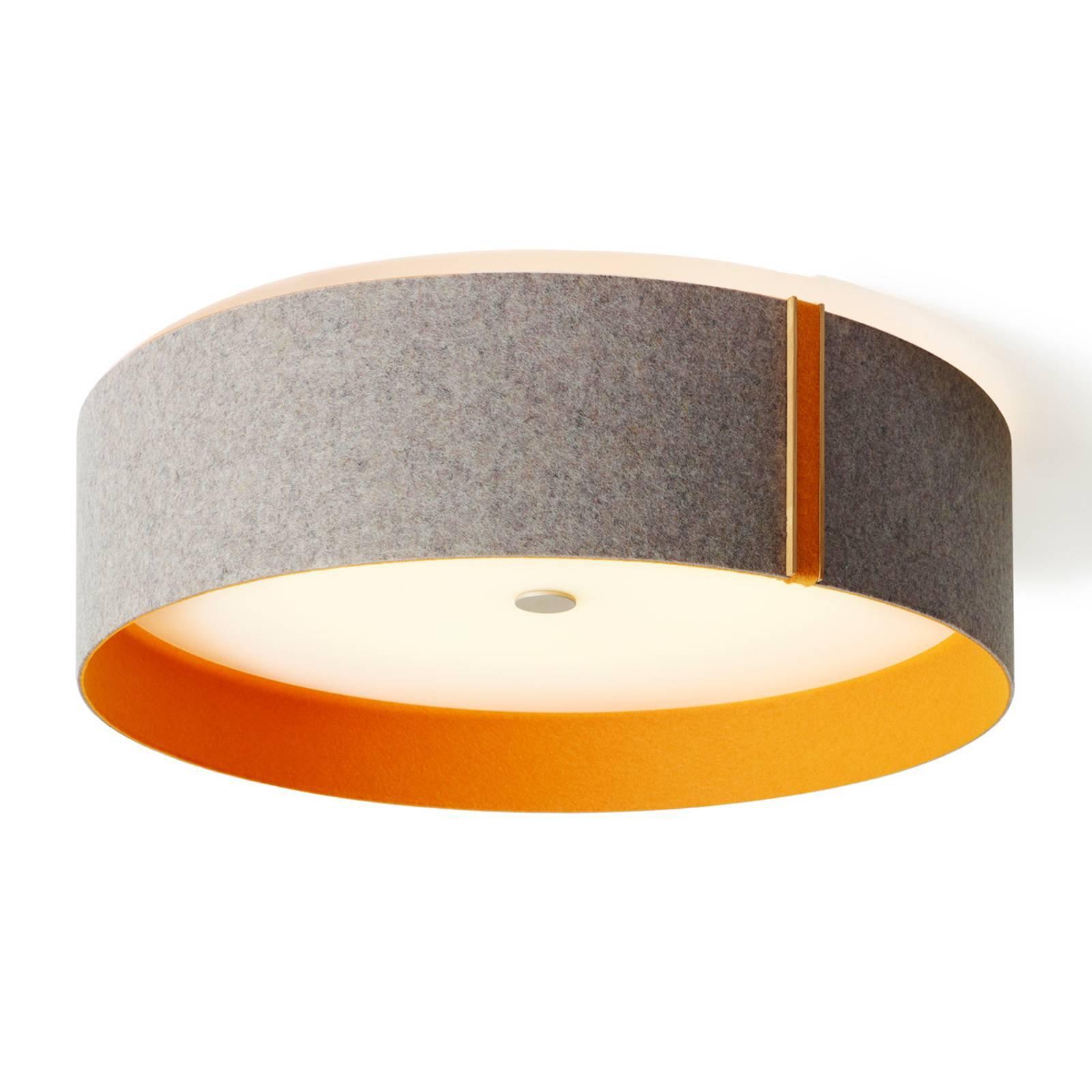 Lara felt – taklampe i filt med LED, grå, oransje