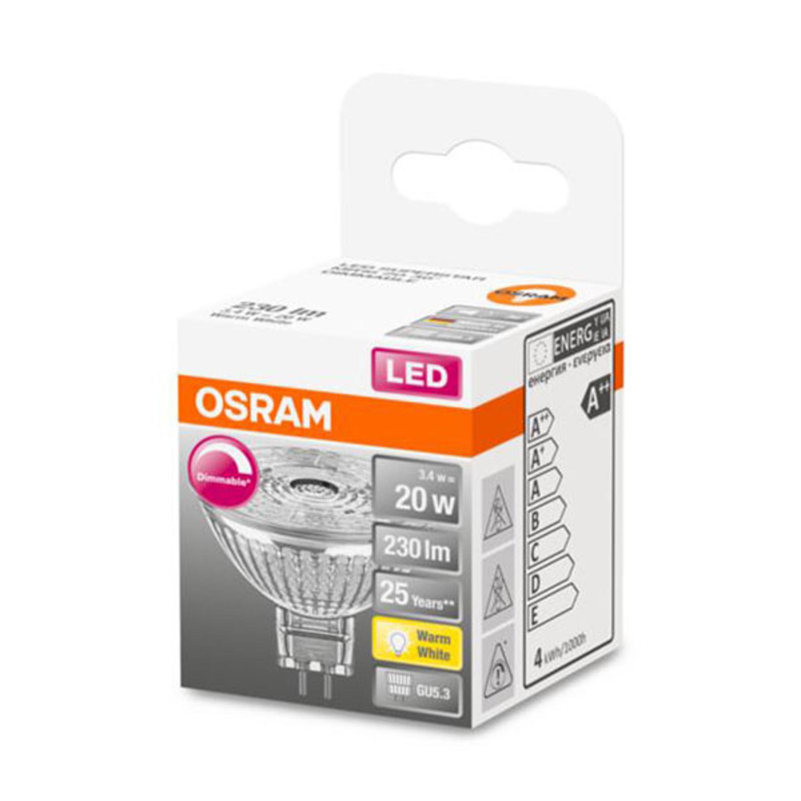 OSRAM-LED-heljastin GU5,3 3,4W 927 36° himmennys