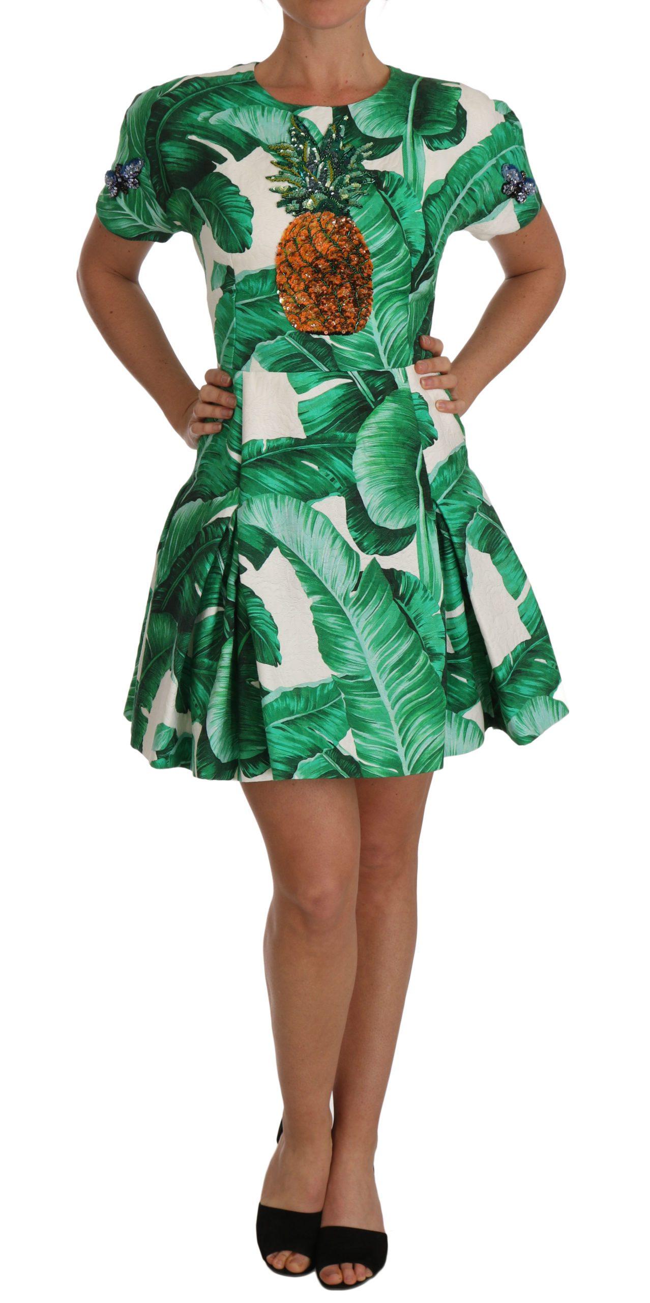 Dolce & Gabbana Women's A-Line Crystal Dress Green DR1429 - IT42 M