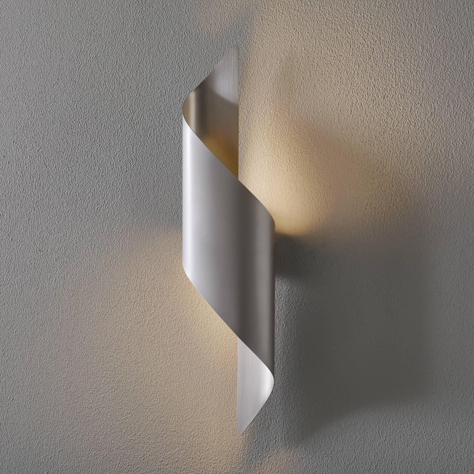LED-vegglampe Fanes, 50 cm høy, perlegrå