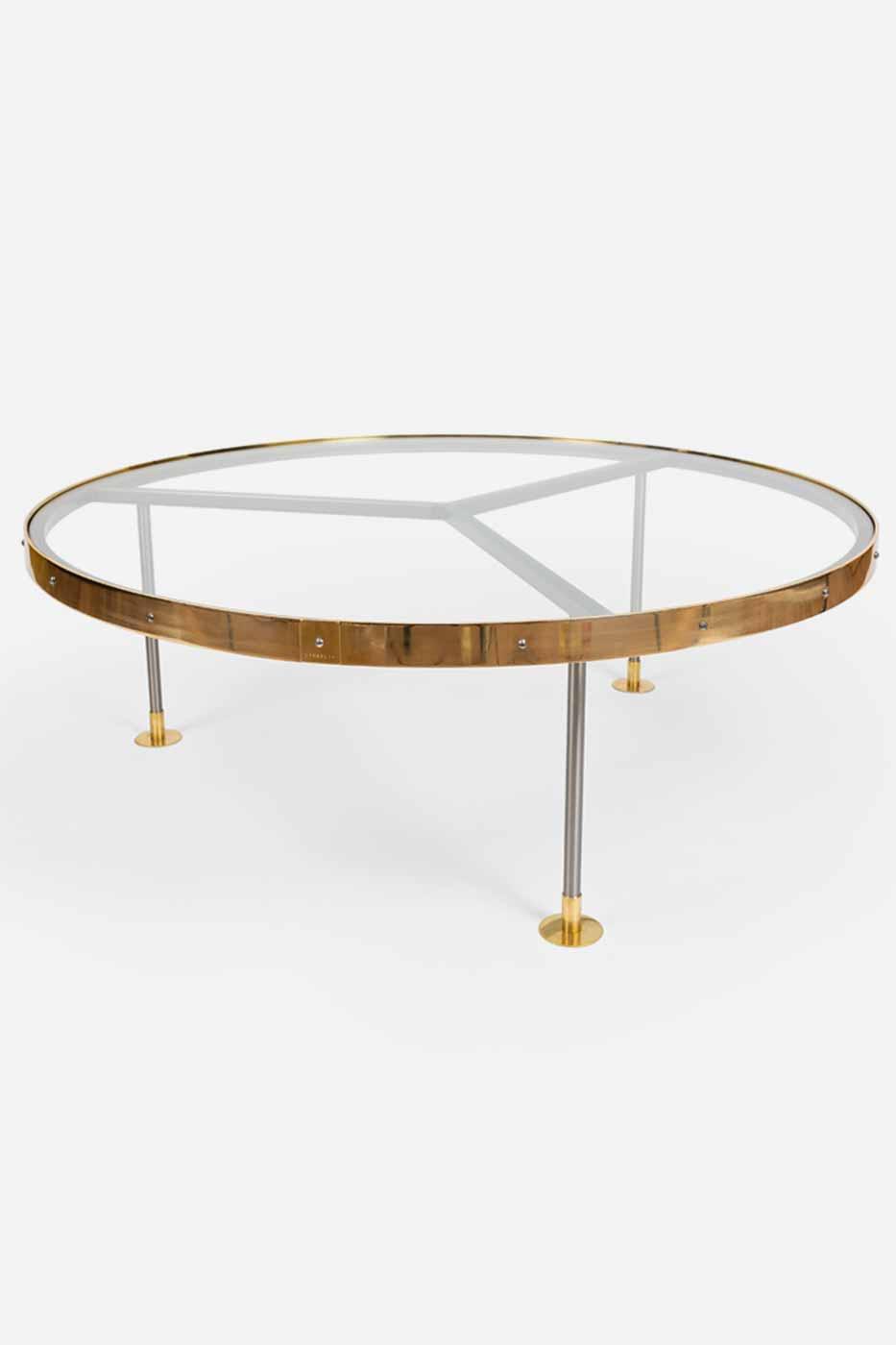 Soffbord 14 110 cm glas/mässing