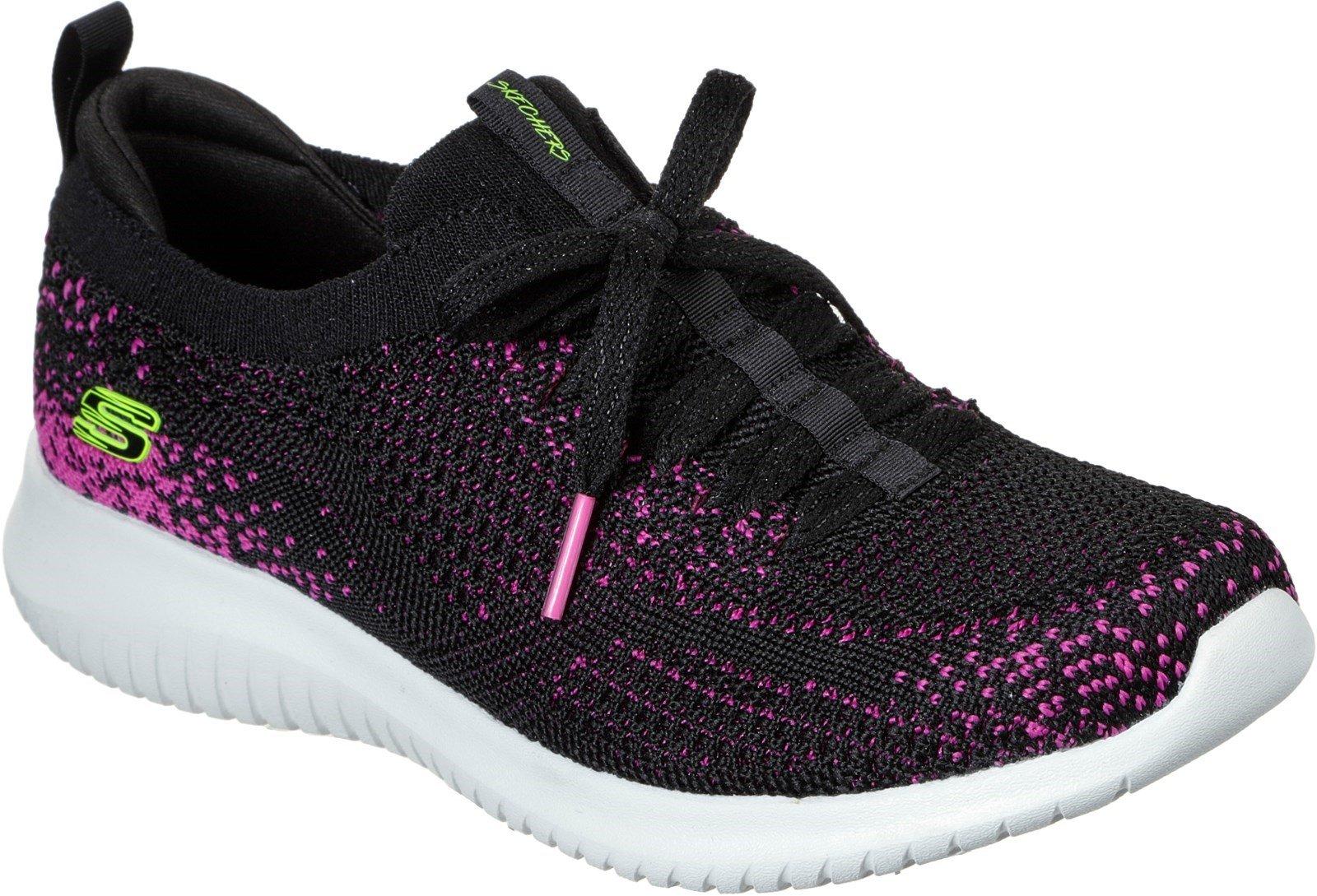 Skechers Women's Ultra Flex Twilight Twinkle Trainer Various Colours 31051 - Black/Hot pink 3