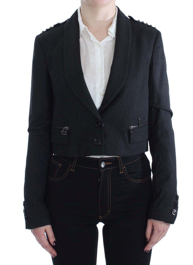 Exte Women's Stretch Studded Short Jacket Gray SIG30911 - IT42 M