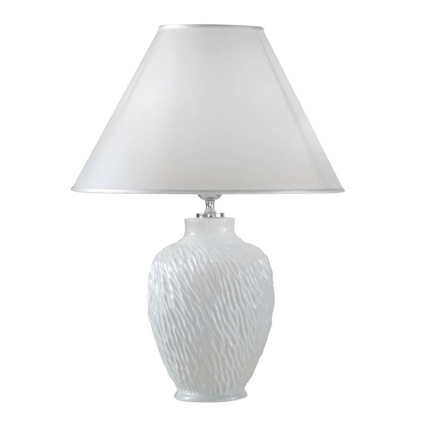 Bordlampe Chiara av keramikk, hvit, Ø 30 cm